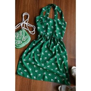 Vintage Inspired Anthro Everly Green Bird Dress